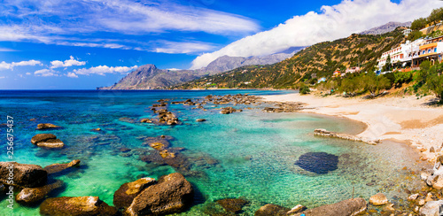 Beautiful beaches of Crete island. Plakias on south. Greece - 256675437