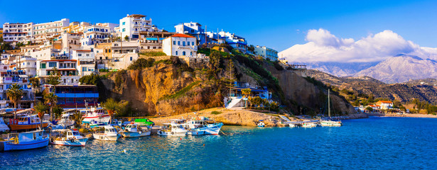Crete island, scenic traditional fishing village Agia galini, popular tourist place in south. Greece
