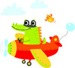 Crocodile flies on the plane. Cute illustration for children - 256677480