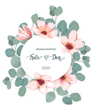 Floral card with eucalyptus leaves and blossom flowers. Greenery frame.Rustic style. For wedding, birthday, party, save the date. Vector illustration - 256683297