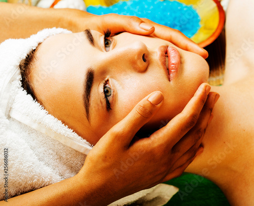 Leinwanddruck Bild stock photo attractive lady getting spa treatment in salon