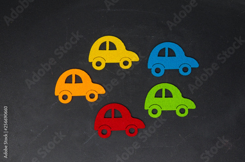 Image where several cars of different colors appear. Conceptual photo, choose car, select color - 256690660