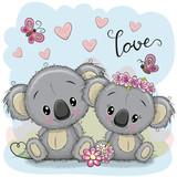 Two Koalas on a blue background