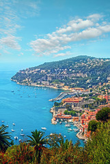 Cote d'Azur France. View of luxury resort and bay of French riviera - Villefranche-sur-Mer is situated between Nice city and Monaco. Mediterranean Sea © Mari79