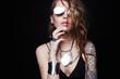 Leinwanddruck Bild - Beautiful sexy girl with tattoo, and sunglasses