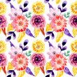 yellow purple watercolor floral seamless pattern - 256706228