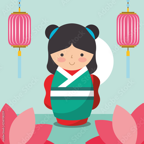 floral decoration chinese lanterns and japanese kokeshi doll in kimono - 256708259