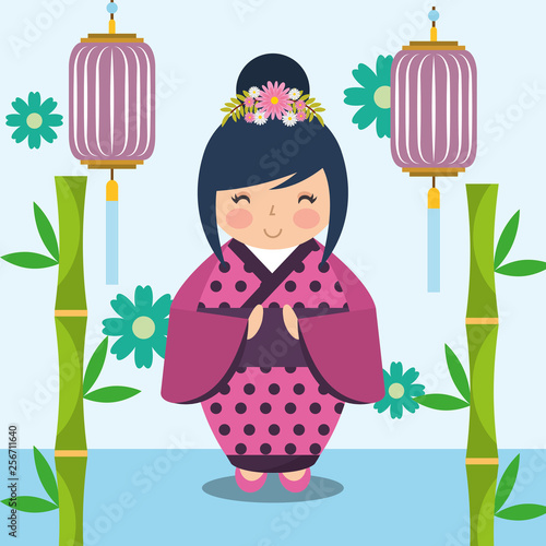 floral decoration chinese lanterns and japanese kokeshi doll in kimono - 256711640