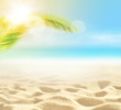 Leinwanddruck Bild - Sand with Palm and tropical beach bokeh background, Summer vacation and travel concept. Copy space