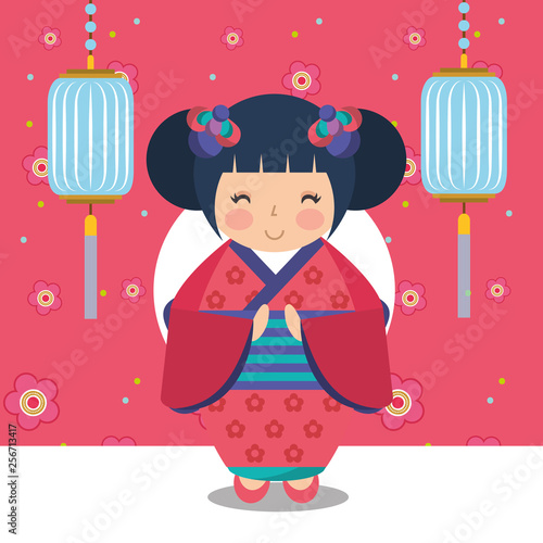 floral decoration chinese lanterns and japanese kokeshi doll in kimono - 256713417