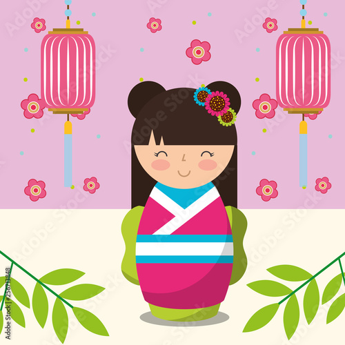 floral decoration chinese lanterns and japanese kokeshi doll in kimono - 256713848