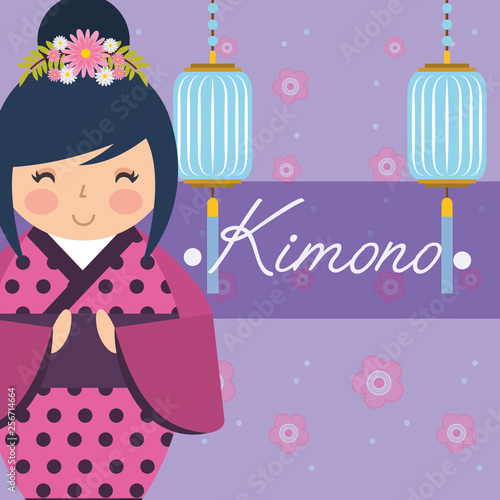 kokeshi japanese national doll in a dotted kimono - 256714664