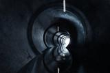 3d rendering betonowy round tunel z światłem przy końcówką