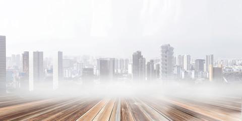 Modern city panorama. Mixed media
