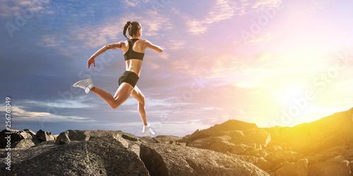 Sportswoman run race. Mixed media © Sergey Nivens