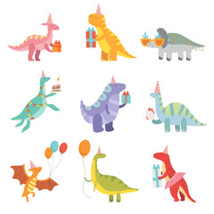 Collection of Cute Dinosaurs in Party Hats with Gift Boxes, Funny Blue Dino Characters, Happy Birthday Party Design Elements Vector Illustration © topvectors