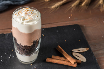 Creamy dessert with chocolate and yogurt