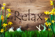 Leinwandbild Motiv Easter Decoration, Grass, Text Relax, Bunny, Egg
