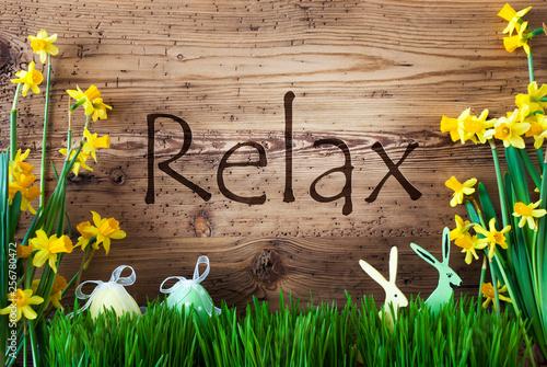 Leinwanddruck Bild Easter Decoration, Grass, Text Relax, Bunny, Egg