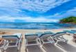 Leinwandbild Motiv Transats sur plage d'Anse Barbarons, Mahé, Seychelles