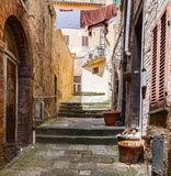 Picturesque narrow street in ancient medieval hills town of Montepulciano, linen hanging between the old houses, fat cat lying on the stones. Tuscany, Italy.