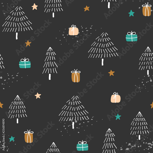 fototapeta na ścianę Winter background with trees and gifts