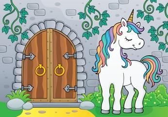 Unicorn by old door theme image 4