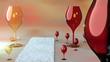 canvas print picture - Weingläser in rot und weiß und ein Teppich auf dem Boden,