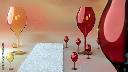 canvas print picture Weingläser in rot und weiß und ein Teppich auf dem Boden,