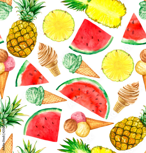 Watermelon, ananas and ice cream on white background. Summer food. Seamless pattern. © prikhnenko