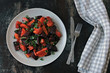 Healthy warm salad with baked beets, pumpkin and carrots. Vegan salad of warm vegetables. - 256842492