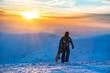 snowboarder on beautiful sunset
