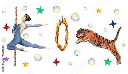 Circus horizontal pattern, soap bubbles, stars, tiger, fire ring, acrobat. Watercolor illustration on white