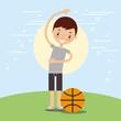 happy boy with sport basketball ball