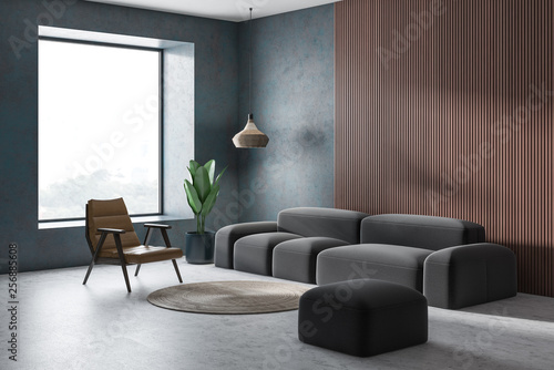 Concrete and wooden living room corner © denisismagilov