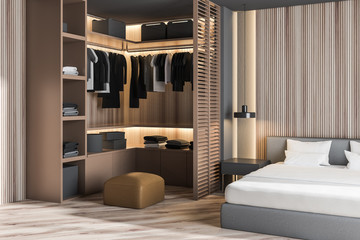Wooden master bedroom corner with wardrobe
