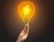 Leinwandbild Motiv Hand holding light bulb on dark background. New Eco idea concept