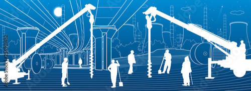 Construction plant. People working. Industry machinery, cranes and bulldozers. Infrastructure urban buildings illustration. Vector design art - 256901482