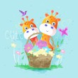 cute giraffes in the spring basket. vector - 256901663