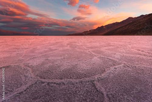 Crimson Sunrise Over the Salt Flats in Badwater Basin © dfikar