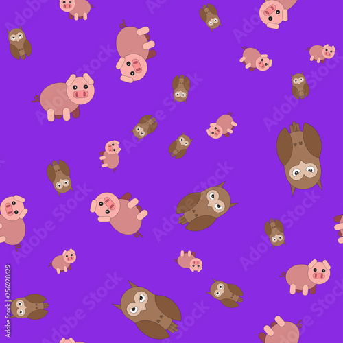 obraz PCV Seamless pattern made of owls and pigs.