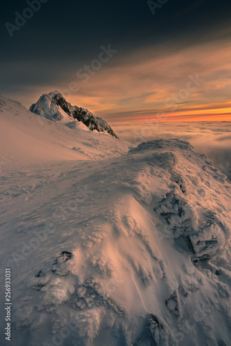 Cloudy morning in the Tatra mountains sunrise.