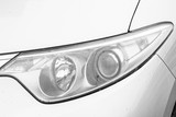 Close-up White car headlight