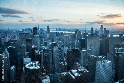 Foto Murales New york city skyline at sunset