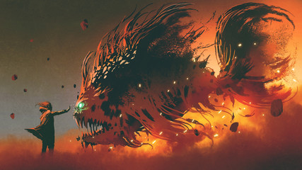 wizard summoning giant fish creature with fire magic, digital art style, illustration painting © grandfailure