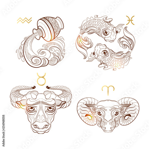 Outline zodiac signs Taurus, Aries, Pisces, Aquarius. Vector illustration. © veye