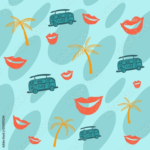 Summer blue background with palm trees, bus and lips. Summer bus. Coffee machine. Sea ​​background