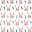 pattern of heads rabbits with flowers - 256991481