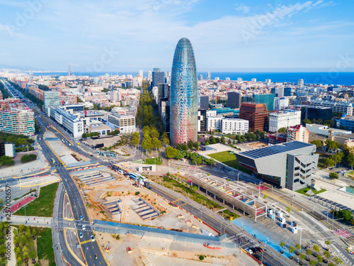 fototapeta na ścianę Barcelona aerial panoramic view, Spain