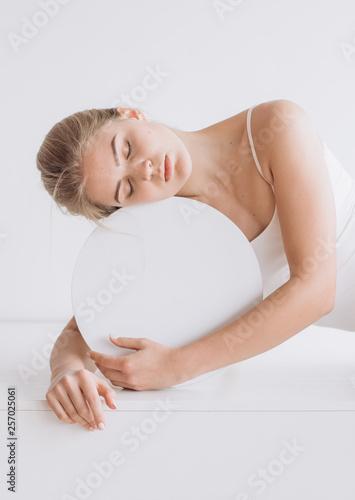 woman health calm sphere circle inscription isolated